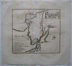 Vänersborg Väner See Grundrissplan Schweden Orig. Kupferstich Merian 1650