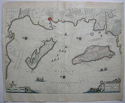 Frankreich France Bretagne Isle d'Oleron Ré Orig Kupferstichkarte Bleau 1647