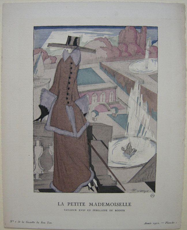 Petite Mademoiselle Gazette de Bon Ton 1922 Mode ART DECO Tailleur Rodier