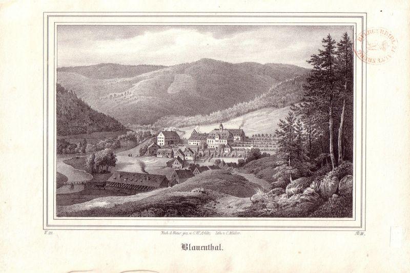 Blauenthal Eibenstock Erzgebirge Kreidelithographie von C Arldt 1840 Sachsen