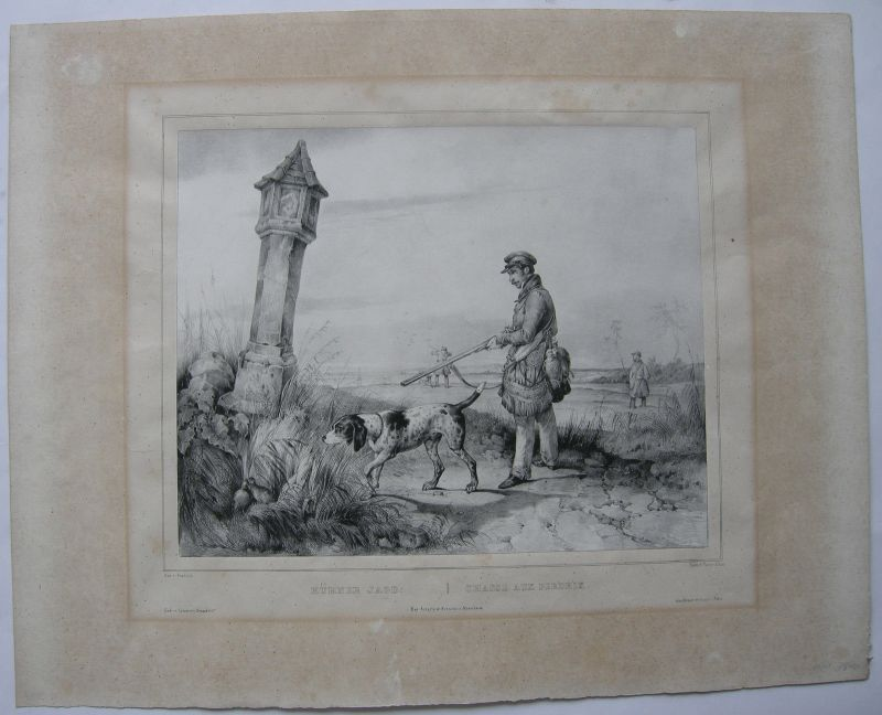 Hühnerjagd Rebhühner Jagd Orig Lithographie 1840 Victor Adam nach Froehlich