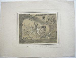 Peter v Hess (1792-1871) Donkosaken überfallen franz Dorf Orig Lithografie 1818