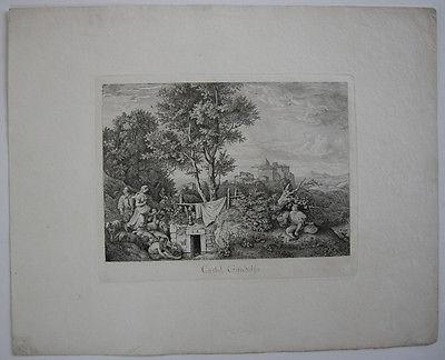 Ludwig Richter (1803-1884) Castel Gandolfo Italia Roma Orig Radierung 1831