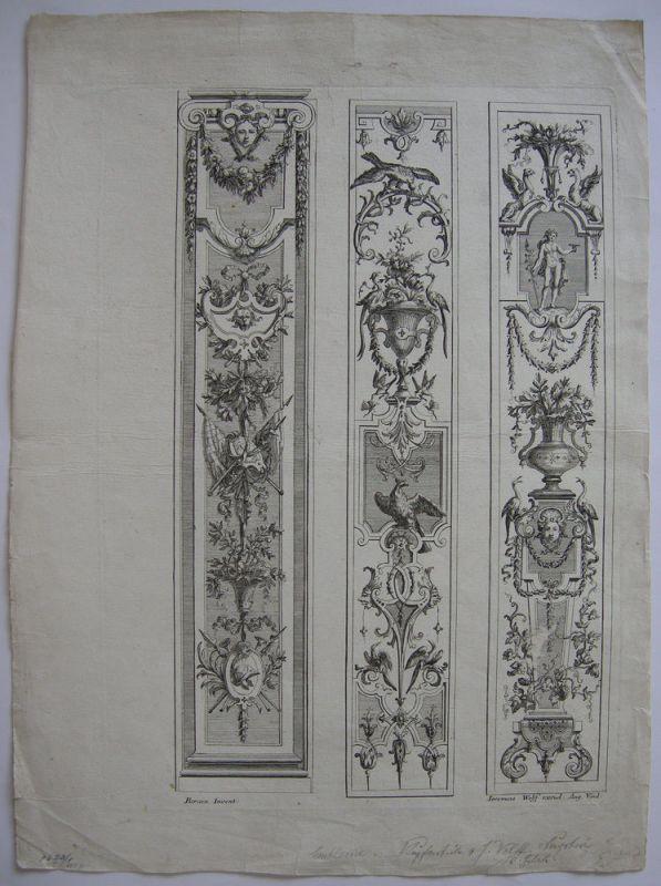 Ornamentstich 3 Paneele Orig Kupferstich I. Wolff nach J. Berain 1700 Barock