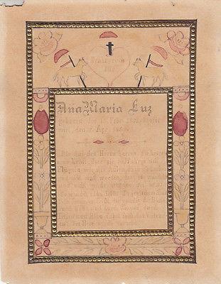 Schön Votivblatt Denkspruch Für Ana Maria Luz Originalzeichnung 1890 0