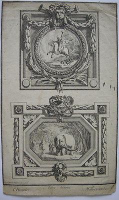 Jean-Charl Delafosse (1734-1789) Mansuetude Pegasus Elefant Kupferstich 1770