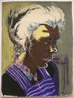 Dora Grabosch (1916-1994) Portrait junge Frau Orig Gouache 1951 signiert