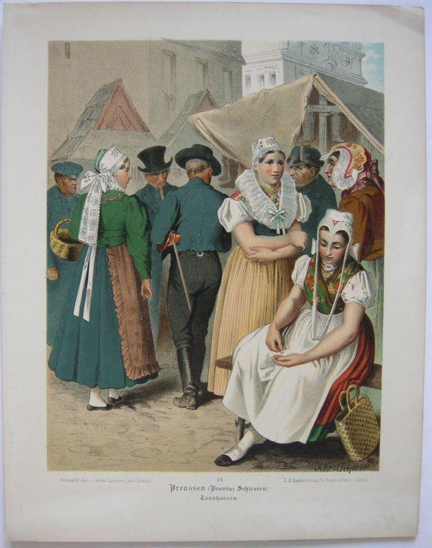 Kostüme Schlesien Slask Tannhausen Chromolithografie Albert Kretschmer 1870