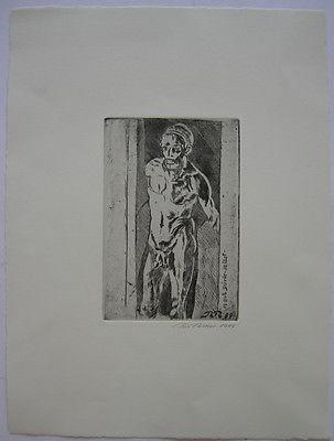 Rudi Rieber (1934-20) nach Dürer selbst männl. Akt Orig Radierung 1999 signiert