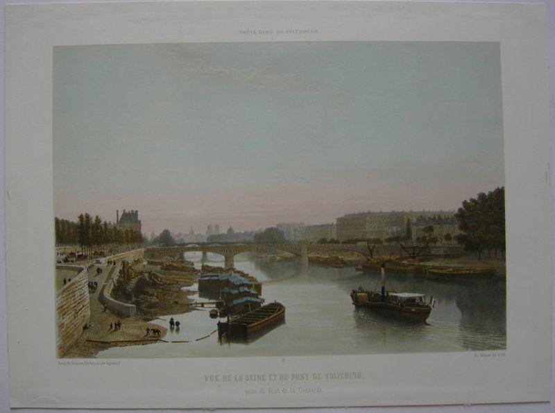 Paris Seine Pont de Solferino Orig. Lithografie Benoist 1861 Paris Splendeur