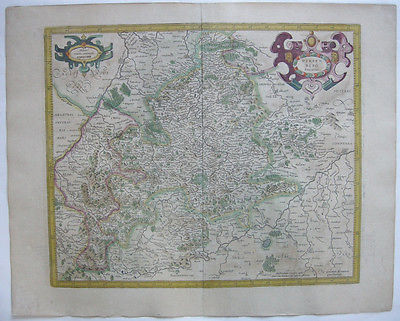 Baden Württemberg altkolor Orig Kupferstichkarte Mercator Hondius 1627