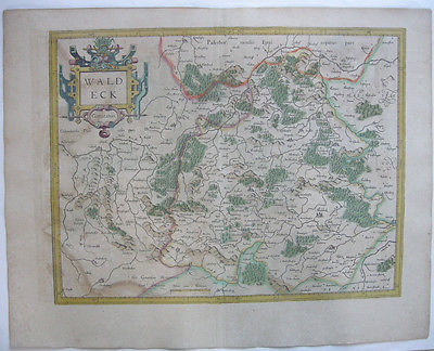 Waldeck altkolor Orig Kupferstichkarte Mercator Hondius 1627 Hessen