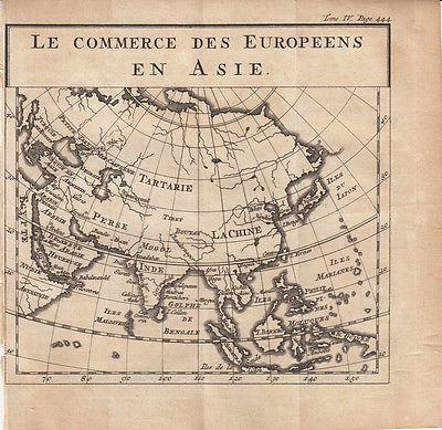 Handelswege der Europäer in Asien Orig. Kupferstichkarte 1739 Erdteilkarte