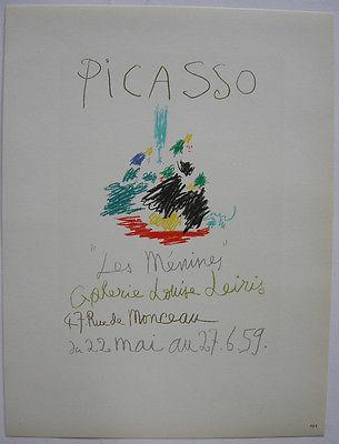 Pablo Picasso Les Menines 1959 Orig Lithografie Maitres de l'Ecole 1959