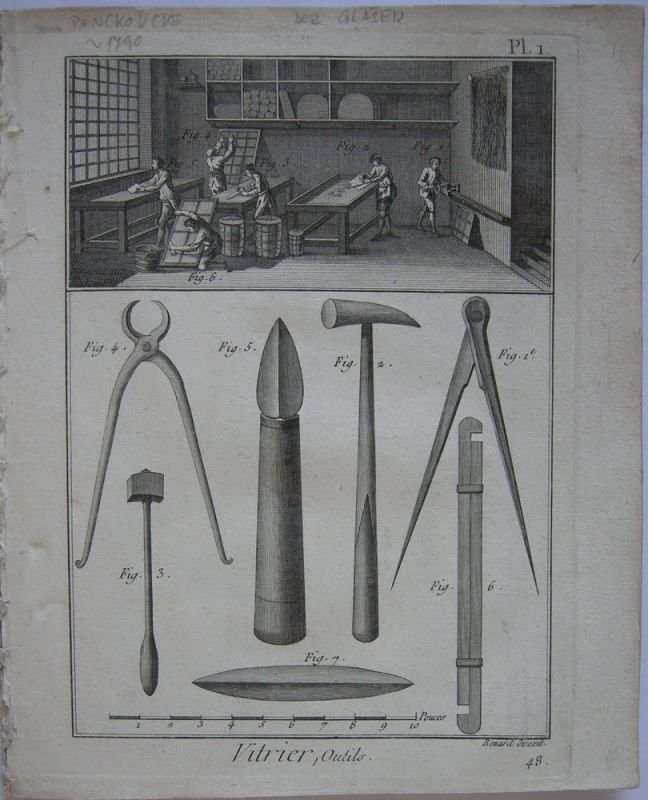 Der Glaser Vitrier 8 Kupferstichtafeln aus Enzyklopädie d'Alembert 1751-1780