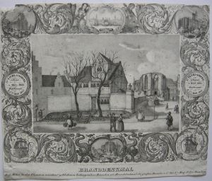 Hamburg Branddenkmal Totengräber Häuschen Orig Kreidelithografie 1842