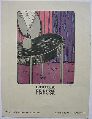 Frisiertisch schwarzer Lack Gold Pochoir Gazette de Bon Ton 1921 Mode ART DECO
