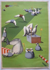 Günter Dollhopf (1937) Auf der grünen Wiese Orig Farblithografie 1976 signiert