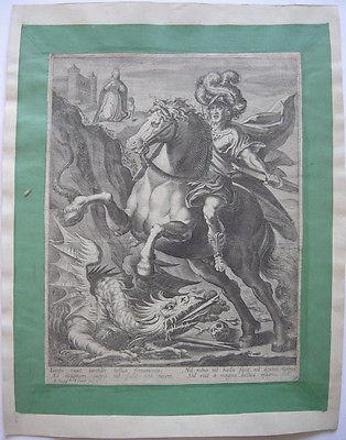 Jean Jenet (XVII. Jh.) Hl. Georg tötet den Drachen Orig Kupferstich 1640