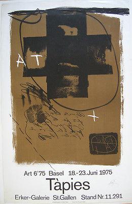 Antoni Tapies Ausstellung Erker Galerie Plakat Orig Lithografie signiert 1975