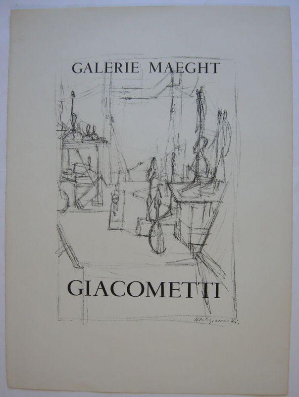 Alberto Giacometti Plakat Galerie Maeght Orig Lithografie 1960