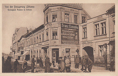 Ak Lötzen Gizycko Belagerung Gefangene Russen Polen Ostpreußen ungel. 1917