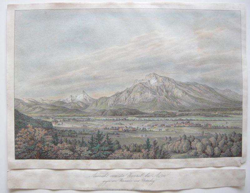 Aigen Österreich Salzburg Farblithographie 1830 Kanzel