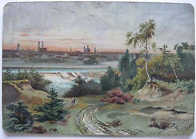 München Gesamtansicht Öl auf Platte Monogrammist M 1896