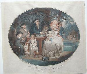 Jean-Francois Soiron (1756-1813) A Tea Garden Kolor Orig Punktierstich 1790
