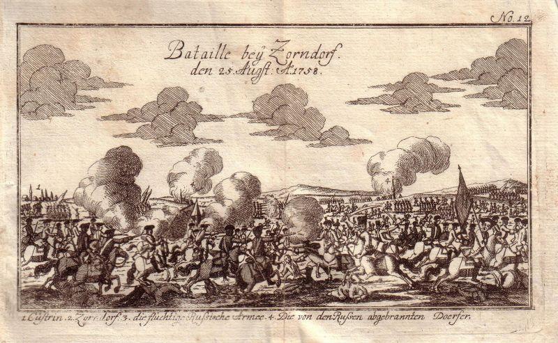 Preussen Sterreich Siebenjhriger Krieg Sarbinowo Polen Kupferstich 1759 0