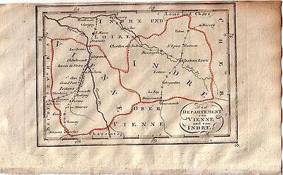 Frankreich Vienne Indre Orig. Kupferstichkarte 1800 France