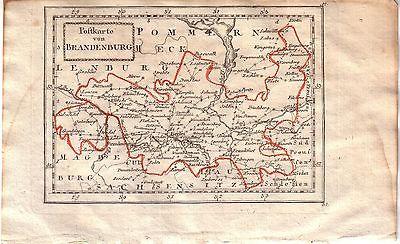 Postkarte von Brandenburg Orig. Kupferstichkarte 1800 Mecklenburg