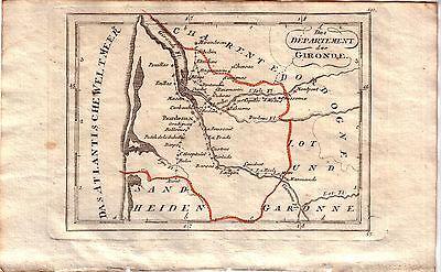 Frankreich Departement Gironde Orig. Kupferstichkarte 1800 France 0