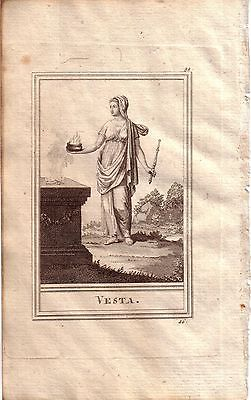 Vesta römische Mythologie Portrait Orig Kupferstich 1800