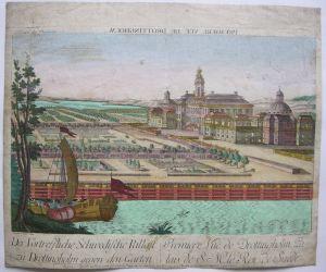 Vue d'optique Drottingholm Schweden Akademie 1750 kolor Orig Kupferstich 0