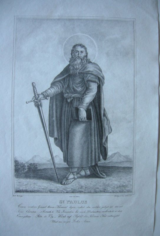 St. Paulus Apostel Orig Lithographie nach Ridinger um 1800
