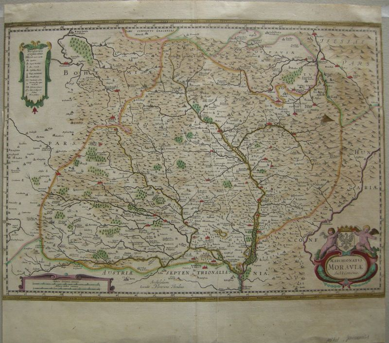 Mähren Tschechien Slowakei Böhmen kol Kupferstichkarte Hondius Janssonius 1650