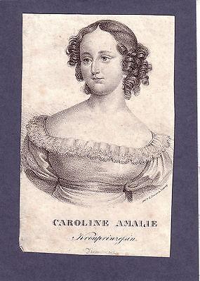Caroline Amalie Kronprinzessin Lithographie 1840 Königin von Dänemark