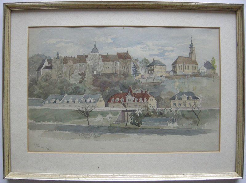 Nossen Sachsen Ansicht Orig Aquarell 1930 hübsch gerahmt vergold Leiste