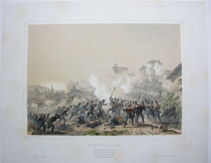 Somma Campagna Italia Battaglia Lombardei Lithographie 1849 Bachmann-Hohenstein