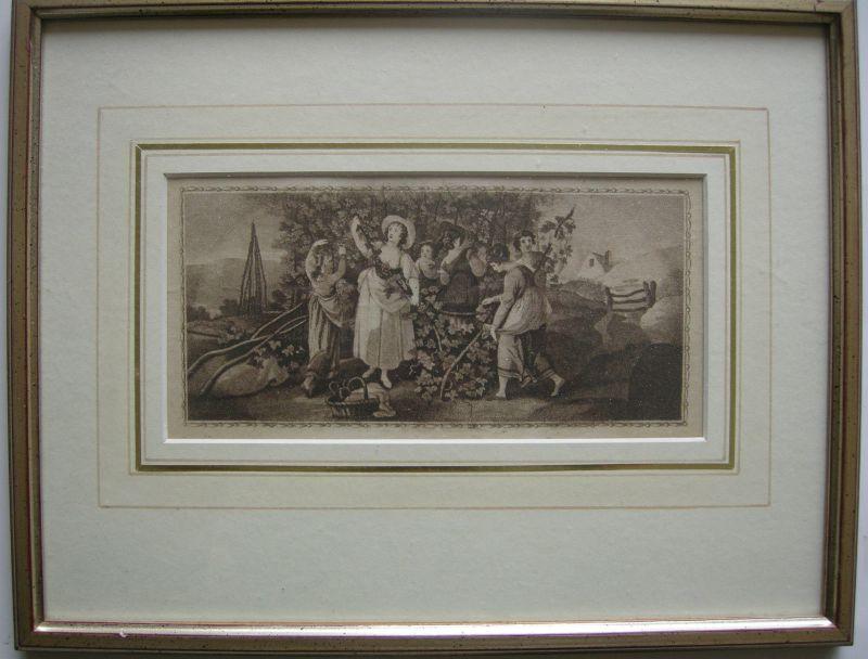 Hopfen Hopfenpflückerinnen Punktierstich um 1850 gerahmt