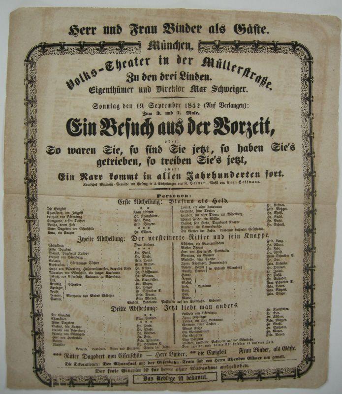 Theaterzettel München Volkstheater Müllerstraße 1852 Besuch aus der Vorzeit
