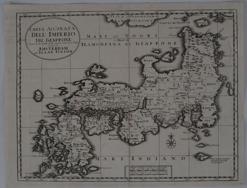 Japan Nippon Kupferstichkarte Isaak Tirion Venedig 1740 Asien Giappone 0