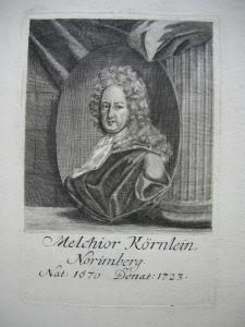 Portrait Kupferstich Melchior Körnlein Cassier im Schauamt Nürnberg 1700
