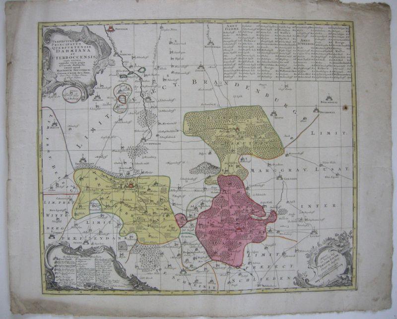 Seutter Dahme Jüterbog Querfurt Brandenburg kol Kupferstichkarte 1730 Lotter