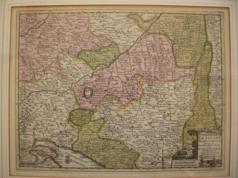 Baden Württemberg Oberschwaben Kupferstichkarte mit Bodensee 1713