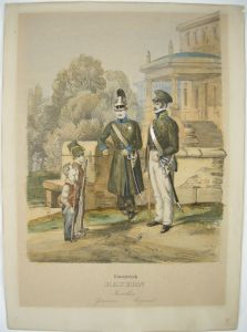 Uniformen Leibgarde Invaliden Corporal  Königreich Bayern Lithographie 1840