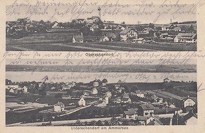 Ak Ober- Unterschondorf Schondorf Landsberg Schwaben Ammersee gel 1921