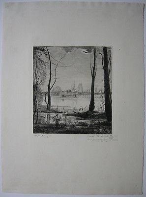 Willi Münch-K'he (1885-1960) Vorfrühling Orig Radierung 1905 signiert