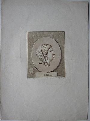 Juno Römische Göttin Orig Kupferstich Klauber nach Casanova 1789